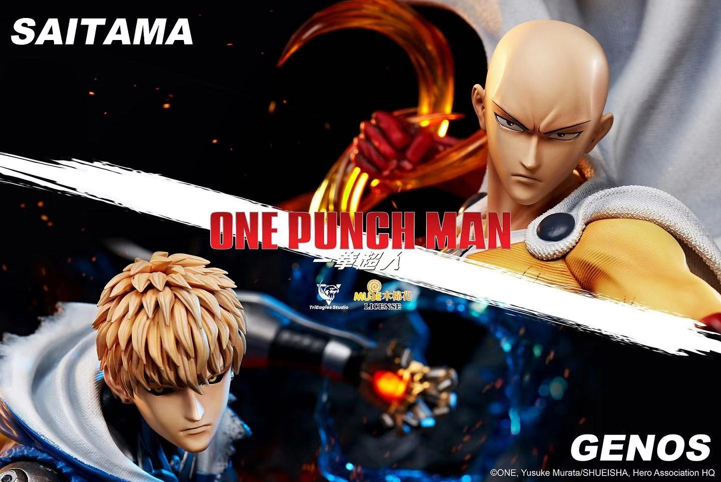 trieagles studio one punch man genos saitama statue 2