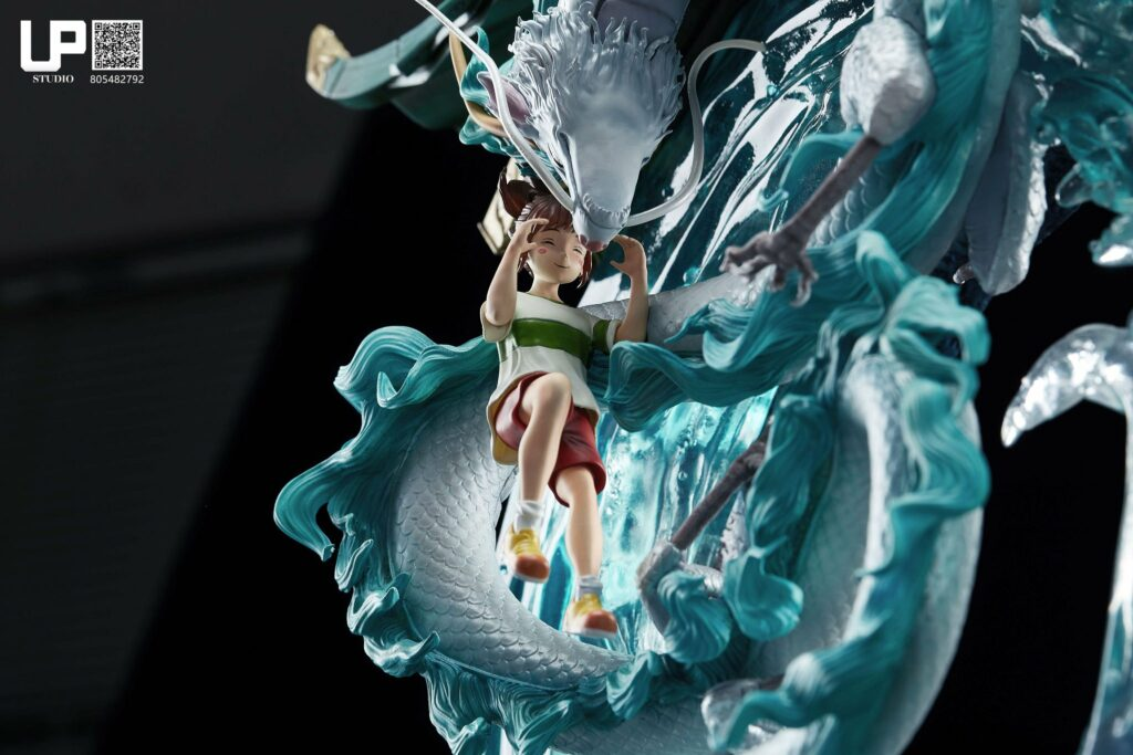 Up Studios Spirited Away Chihiro Ogino & Haku (Dragon Form) 1/6 Scale Statue Close-up Face 1